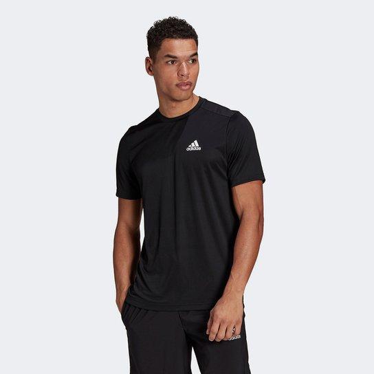 Camiseta Adidas D2M Plain Masculina - Preto+Branco