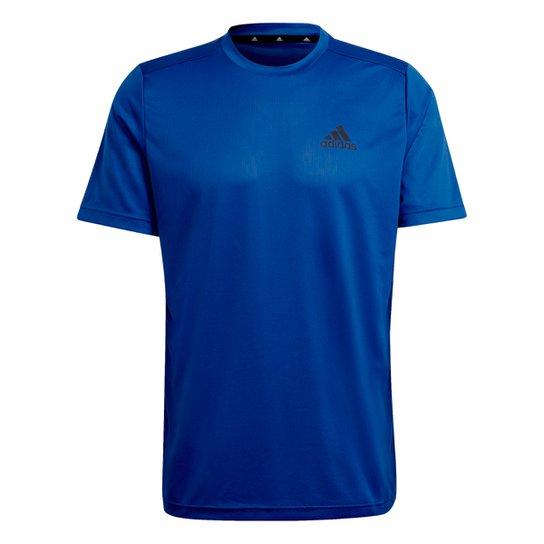 Camiseta Adidas D2M Plain Masculina - Azul Royal+Preto