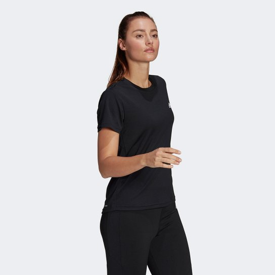 Camiseta Adidas D2M Sport Feminina - Preto+Branco