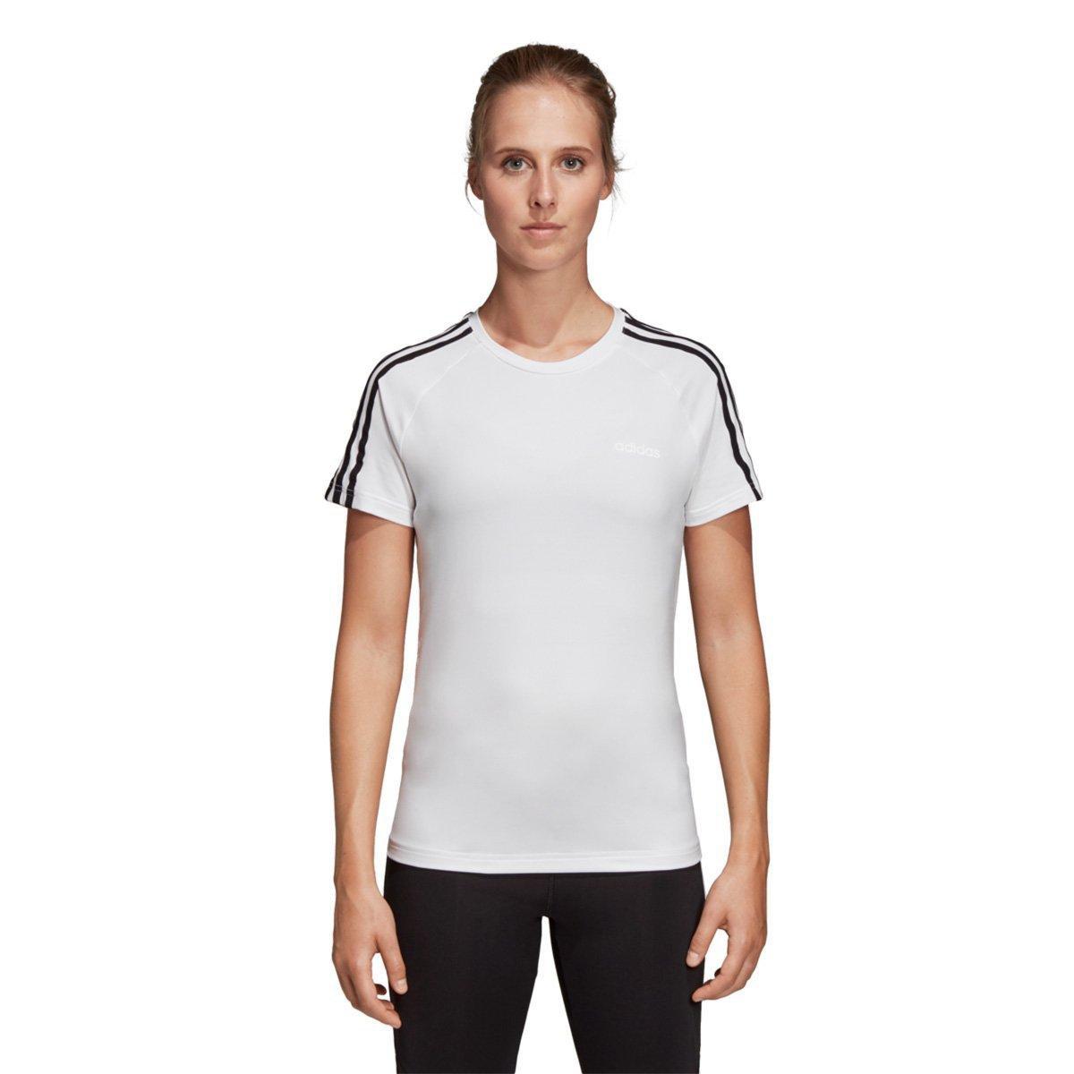 1b30d5c9d909e Camiseta Adidas Design 2 Move 3 Stripes Feminina - Branco e Preto - Compre  Agora