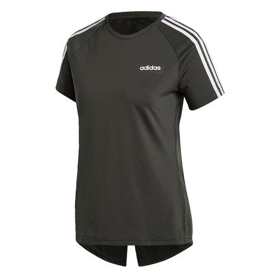 Camiseta Adidas Designed 2 Move 3S Feminina - Chumbo+Branco