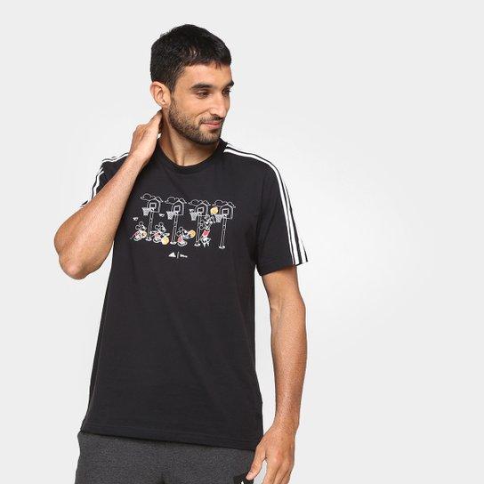 Camiseta Adidas Disney Cesta 3 Listras Masculina - Preto