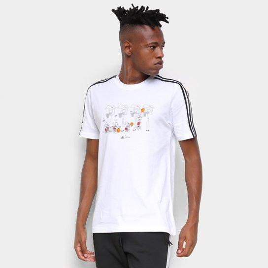 Camiseta Adidas Disney Cesta 3 Listras Masculina - Branco