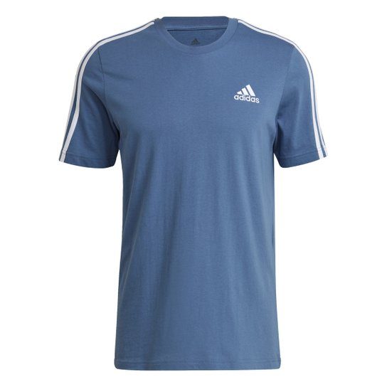 Camiseta Adidas Essentials 3 Listras Masculina - Azul