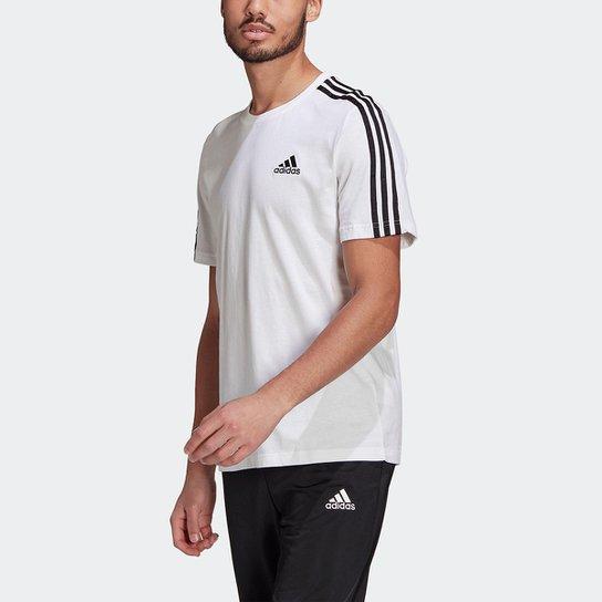Camiseta Adidas Essentials 3 Listras Masculina - Branco+Preto