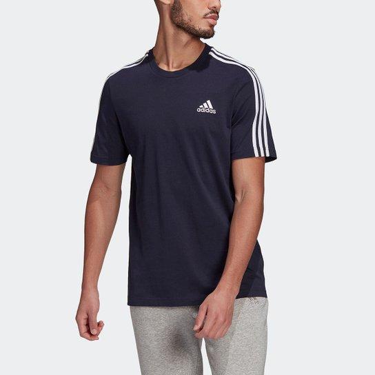 Camiseta Adidas Essentials 3 Listras Masculina - Marinho+Branco