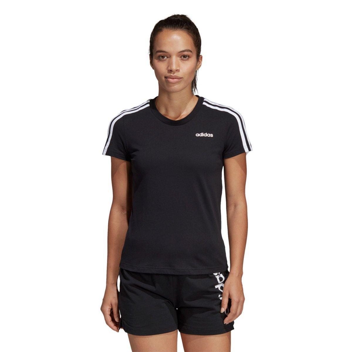 837336a03a2c7 Camiseta Adidas Essentials 3 Stripes Feminina - Preto e Branco - Compre  Agora