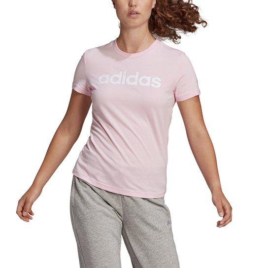 Camiseta Adidas Essentials Linear Feminina - Rosa+Branco