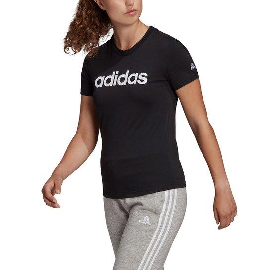 Camiseta Adidas Essentials Linear Feminina - Preto+Branco