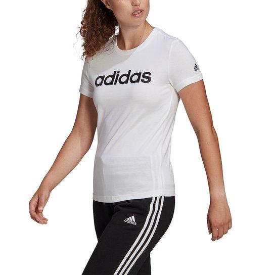 Camiseta Adidas Essentials Linear Feminina - Branco+Preto