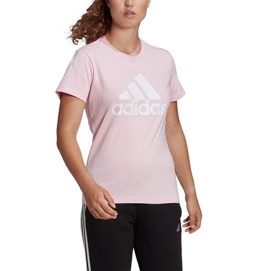 Camiseta Adidas Essentials Logo Adidas Feminina - Rosa+Branco