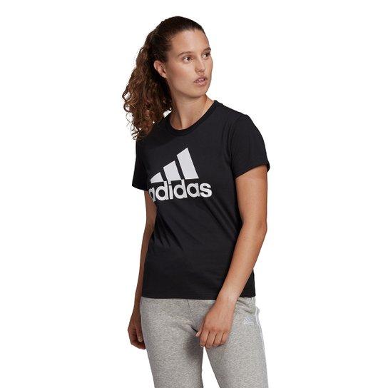 Camiseta Adidas Essentials Logo Adidas Feminina - Preto+Branco