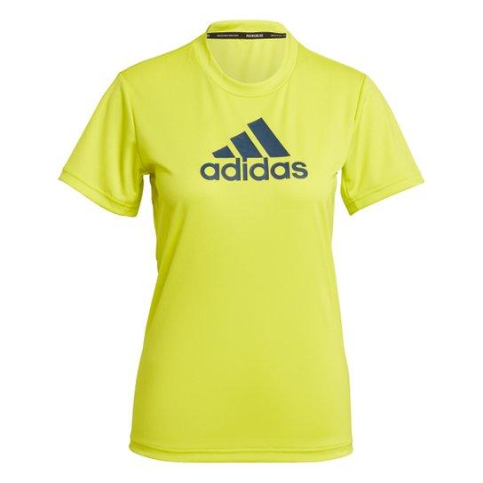 Camiseta Adidas Essentials Logo Adidas Feminina - Amarelo+Azul