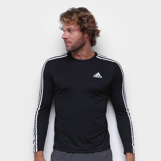 Camiseta Adidas Essentials Performance 3 Listras Manga Longa Masculina - Preto