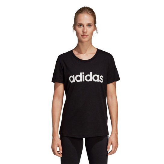 Camiseta Adidas Estampa Logo Slim Feminina - Preto+Branco