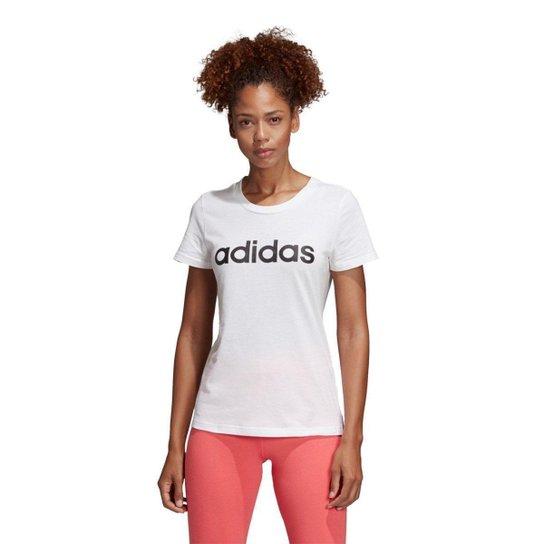 Camiseta Adidas Estampa Logo Slim Feminina - Branco+Preto