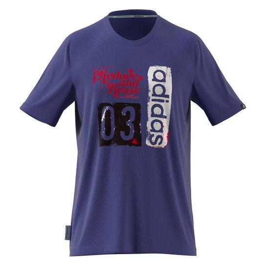 Camiseta Adidas Gráfica Run For The Oceans Masculina - Azul