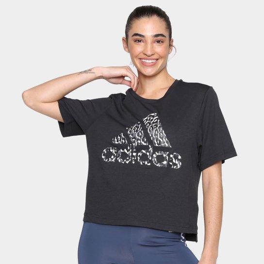 Camiseta Adidas Leopard Feminina - Preto