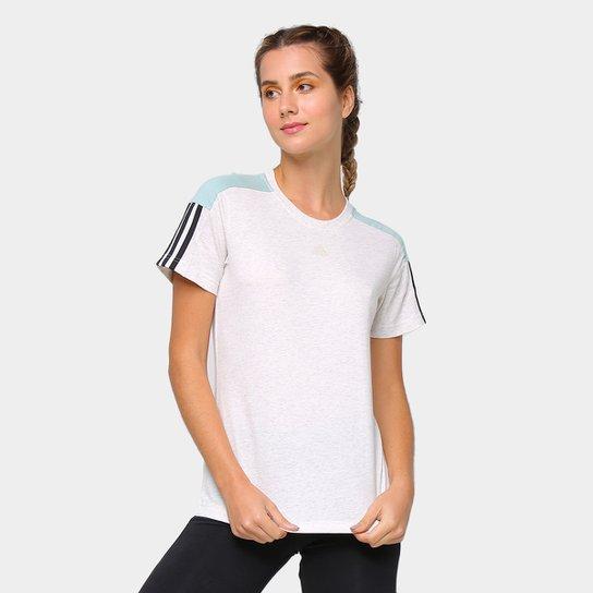 Camiseta Adidas Linear Color Block Feminina - Branco+Preto
