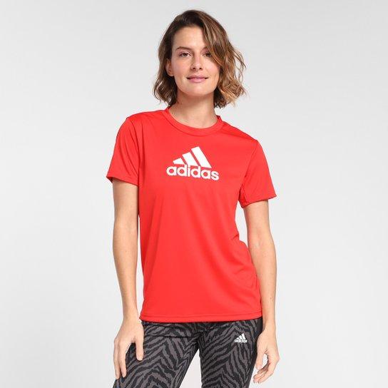 Camiseta Adidas Logo Designed To Move Feminina - Vermelho+Branco