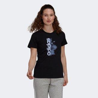 Camiseta Adidas Logo Linear Floral Feminina