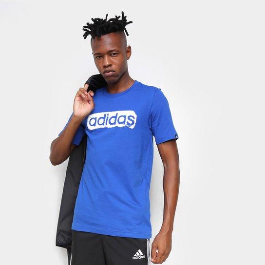 Camiseta Adidas Logo Linear Masculina - Azul Royal