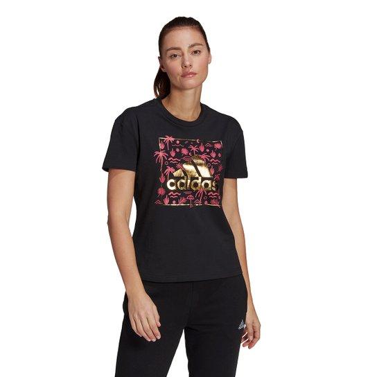 Camiseta Adidas Logo Vazado Floral Feminina - Preto