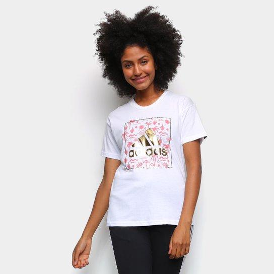 Camiseta Adidas Logo Vazado Floral Feminina - Branco