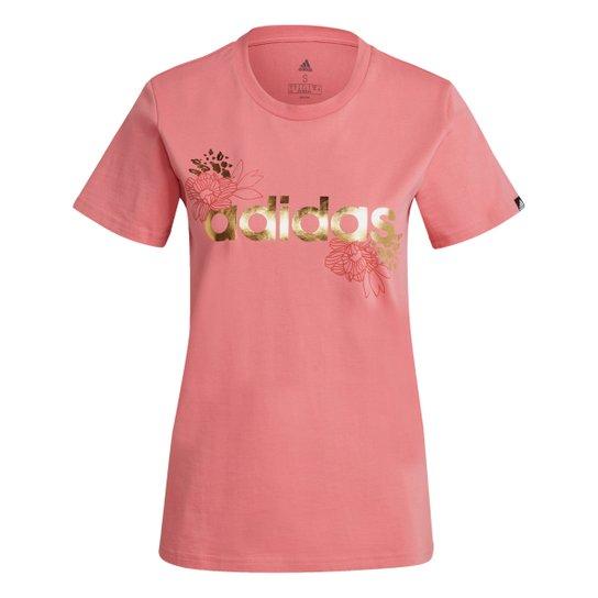 Camiseta Adidas Logo Vazado Floral Feminina - Rosa