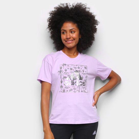 Camiseta Adidas Logo Vazado Floral Feminina - Lilás