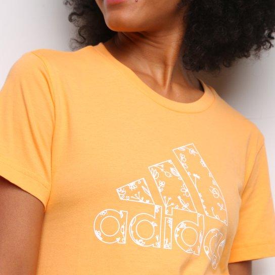 Camiseta Adidas Logo Vazado Floral Feminina - Laranja