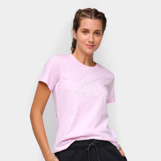 Camiseta Adidas Logo Vazado Floral Feminina - Rosa Claro