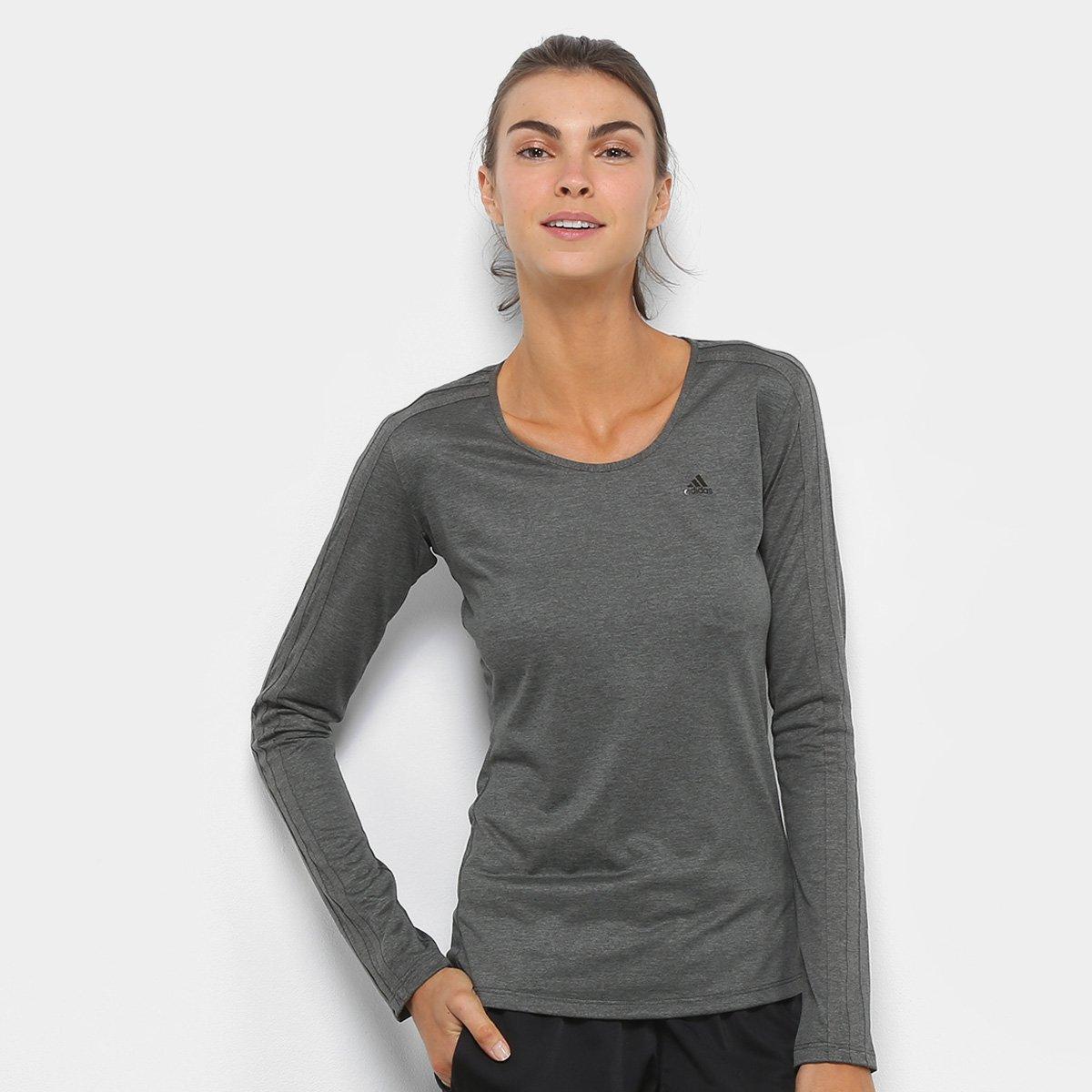 Camiseta Adidas Manga Longa 3S Ls Feminina - Cinza e Preto - Compre Agora  b56a9734096