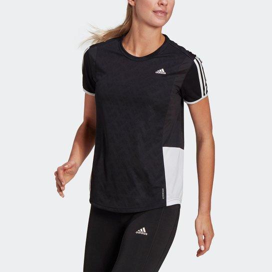 Camiseta Adidas Otr 3 Stripes Feminina - Preto+Branco
