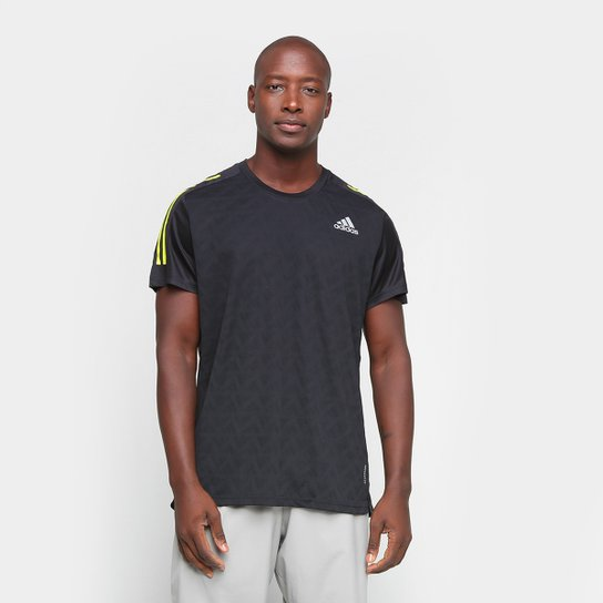 Camiseta Adidas Own The Run 3 Stripes Masculina - Preto