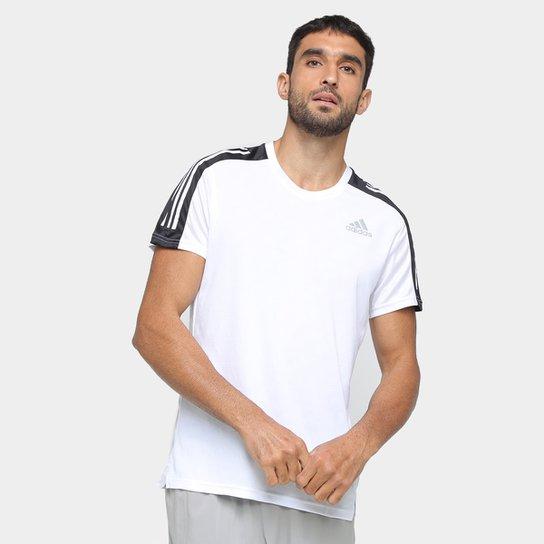 Camiseta Adidas Own The Run 3 Stripes Masculina - Branco+Preto