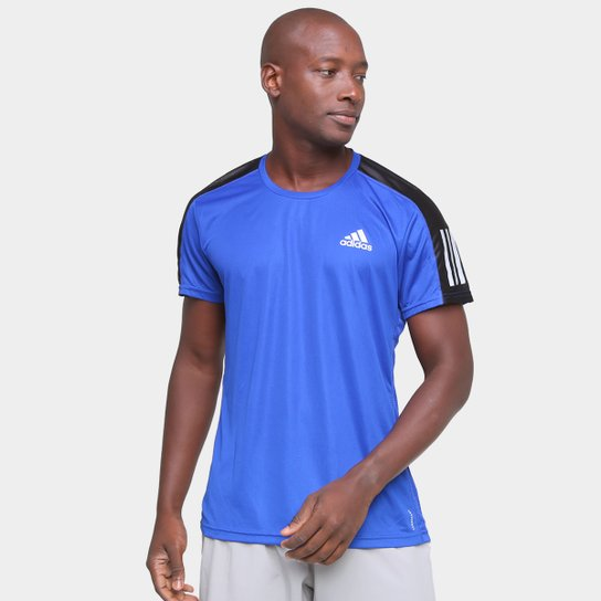 Camiseta Adidas Own The Run  Duo Color Masculina - Azul Royal+Prata