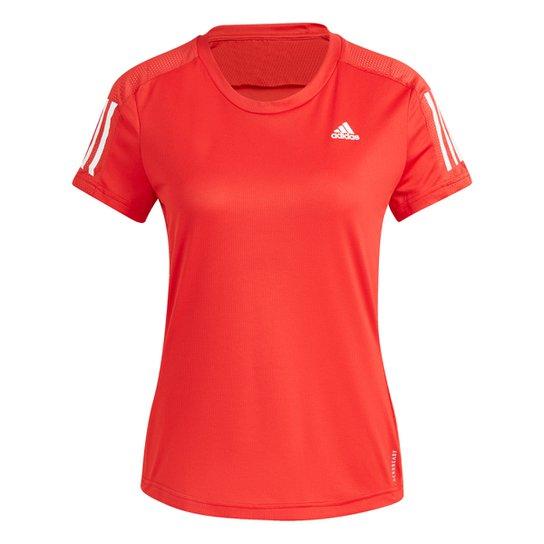 Camiseta Adidas Own The Run Feminina - Vermelho+Preto