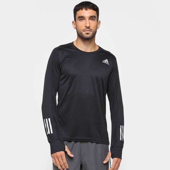 Camiseta Adidas Own The Run Manga Longa Masculina - Preto