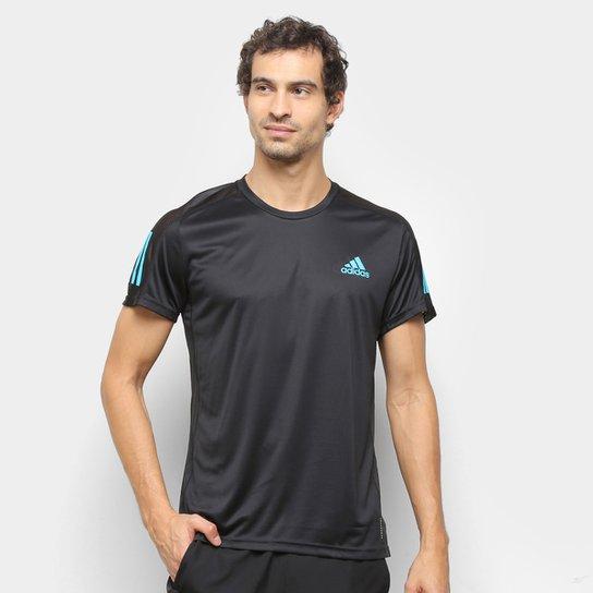 Camiseta Adidas Own The Run Masculina - Preto+Azul