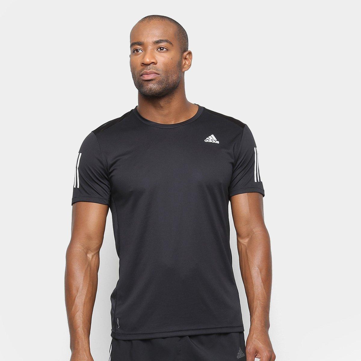 1ebcc554f4f Camiseta Adidas Own The Run Masculina - Preto e Branco - Compre Agora