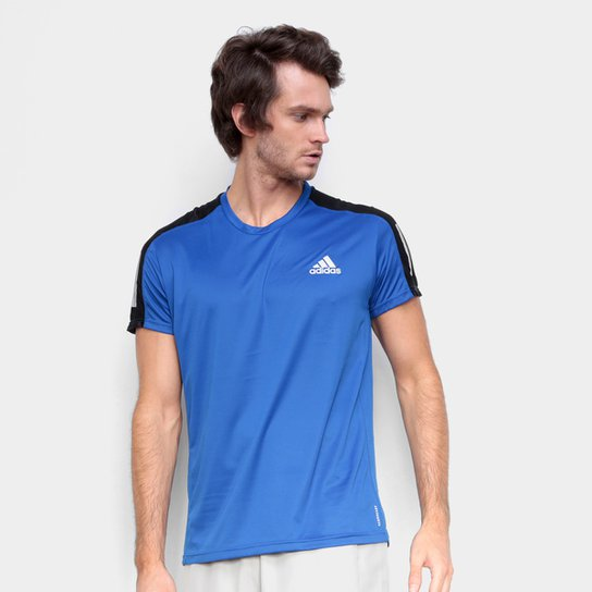 Camiseta Adidas Own The Run Prime Masculina - Azul Royal+Prata