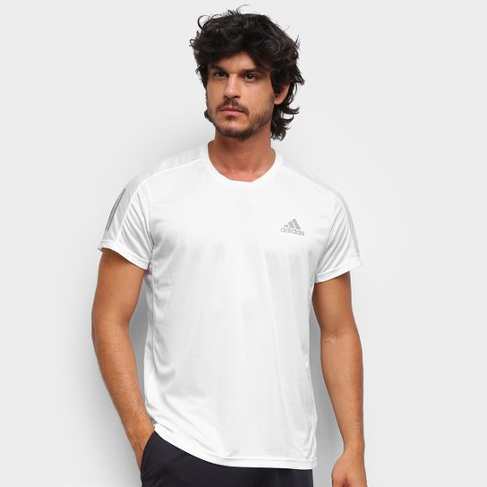 Camiseta Adidas Own The Run Prime Masculina - Branco+Cinza