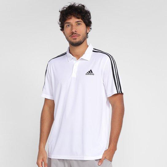 Camiseta Adidas Polo 3 Listras Designed To Move Masculina - Branco