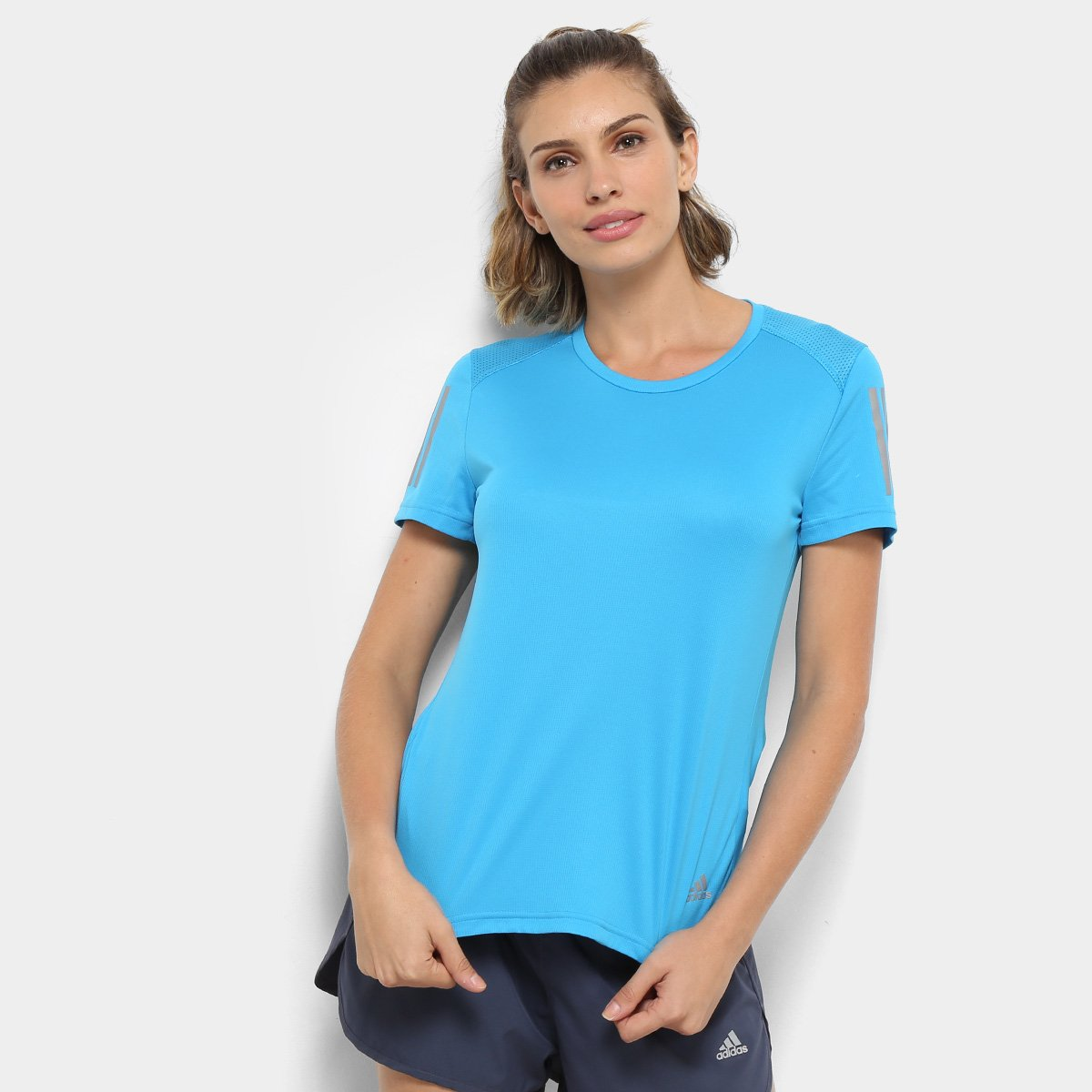 2604030da637b Camiseta Adidas Response Feminina - Azul Piscina - Compre Agora ...