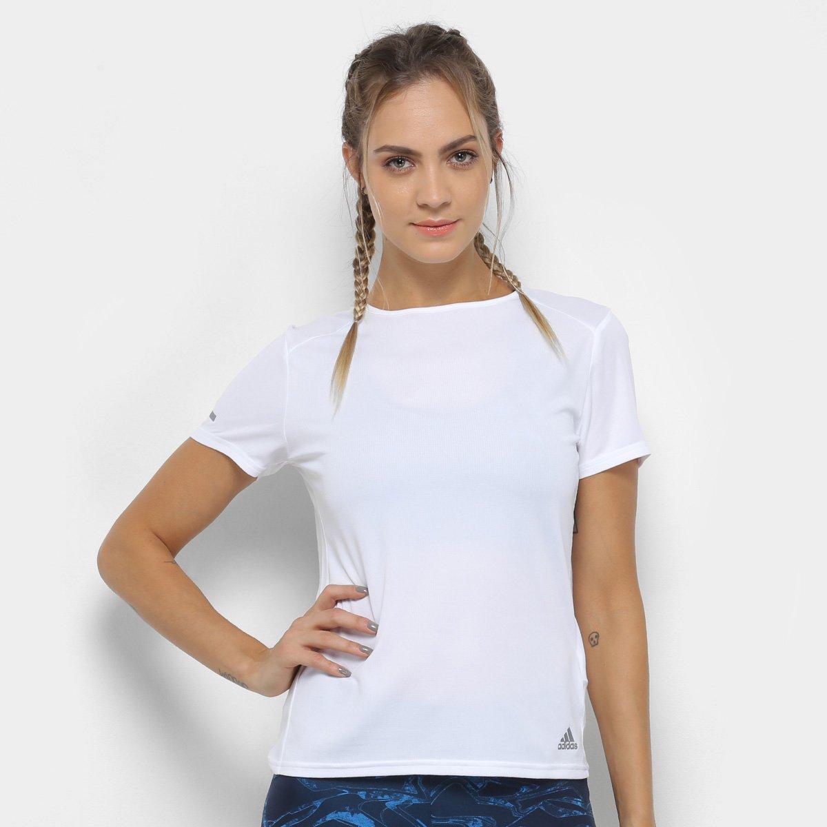 215bb19464a Camiseta Adidas Run Feminina - Branco - Compre Agora