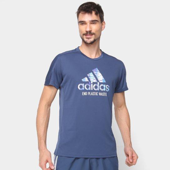 Camiseta Adidas Run For The Oceans Masculina - Azul