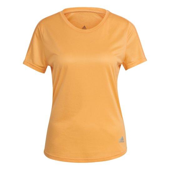 Camiseta Adidas Run It Feminina - Laranja Claro