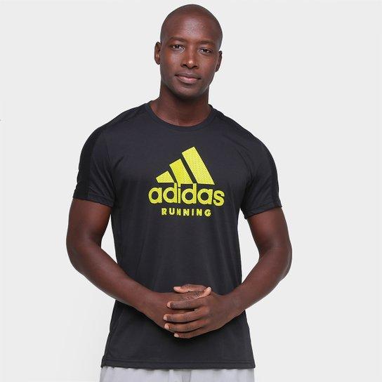 Camiseta Adidas Run Logo Masculina - Preto
