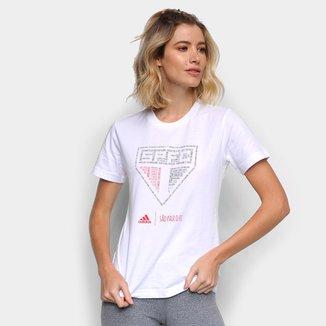 Camiseta Adidas São Paulo Paixão Tricolor Feminina